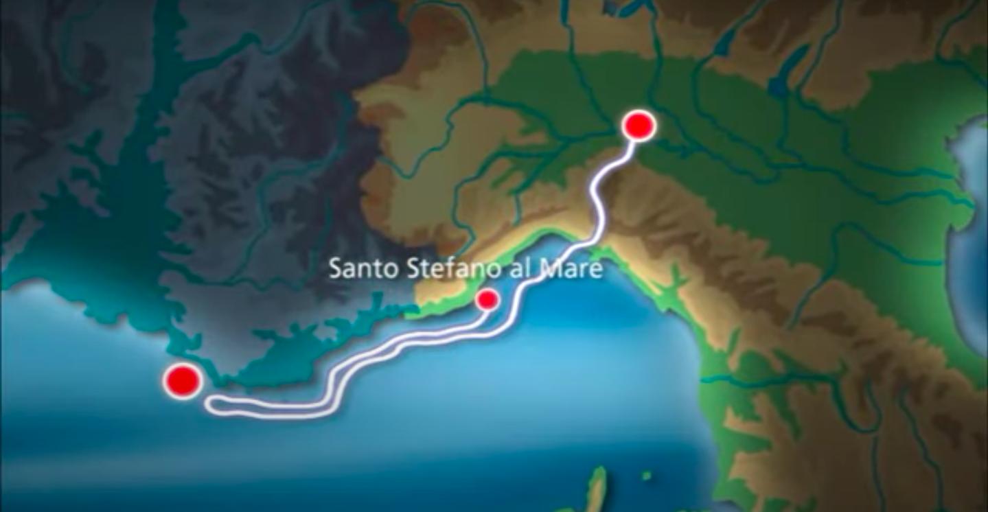 Il percorso del BR20 affondato a Santo Stefano al Mare